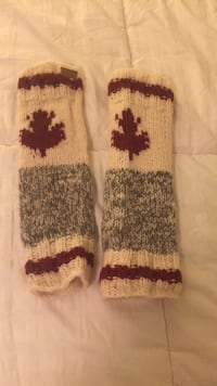 gray and red knitted socks