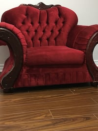 red tufted padded sofa chair Ajax, L1Z 0G6