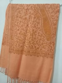 Fully embroidered peach colour shawl