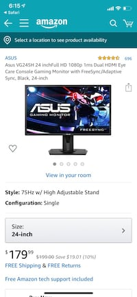 ASUS 24in 75hz 1ms monitor  Homer Glen, 60491