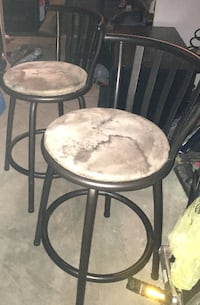 Two stools / metal padded. Microfiber seats