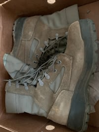 Sage green combat boots, size 7.5
