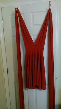 red long sleeved plunging neckline midi dress Easley, 29642