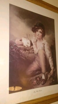 """""""Boy with Rabbit"""" Framed Art/Picure"""