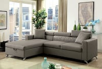 Grey Leather Sectional with pull out bed  Las Vegas