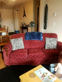 red and black floral fabric loveseat Edmonton, T6W 1A8