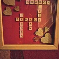 scrabble-themed artwork with brown wooden frame Wallasey, CH44 6QD