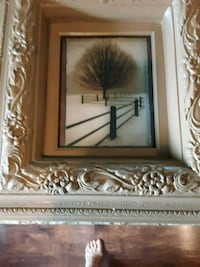 brown wooden framed painting of brown and white flower Arbutus, 21227