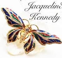 JACQUELINE KENNEDY BUTTERFLY Brooch *signed* Authentic J.B.K. Diamanté Crystal Gold Plated Butterfly brooch  Barrie, L4N 1X7