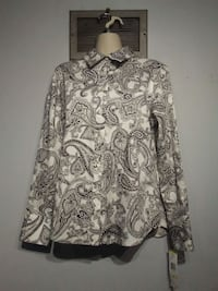 white and black floral button up blouse