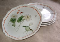Toscany Lotus Plates - Asian Butterflies Flowers - Vintage Japanese Plates