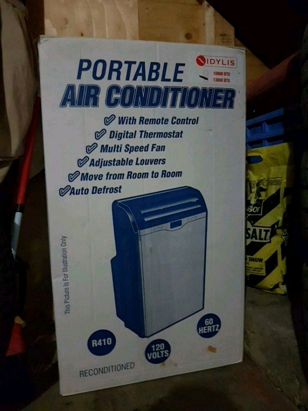 blue and white portable air conditioner box