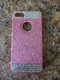 pink and gray glitter iPhone case