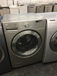 gray LG front-load clothes washer and dryer set Toronto, M3J