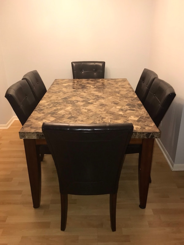 Terrific Dining Table Marble Like Top Counter W 6 Chairs Ibusinesslaw Wood Chair Design Ideas Ibusinesslaworg