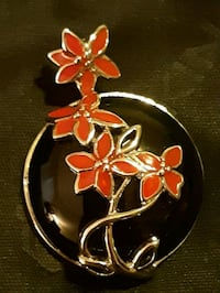 Sterling Silver David Sigal Red Flower Black Onyx