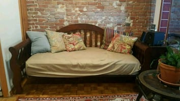 WOODEN DAYBED + SINGLE BED MATTRESS  + BED SHEET
