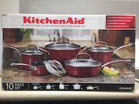 10 pieces porcelain nonstick cookware (kitchenAid)set in red colour. Burnaby, V3N 0G5