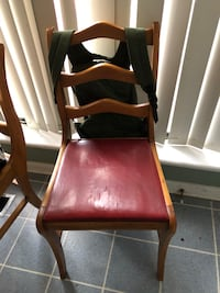 Brown wooden framed red leather padded chair North Augusta, 29841