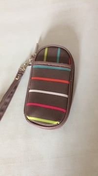 brown red and white stripes case