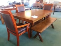 WOODEN TABLE WITH 3 Chairs + bench