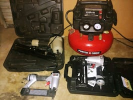 Porter Cable compressor and nail guns set