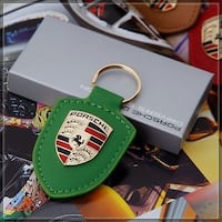 Green New Porsche Leather Gold Crest Keychain Vancouver, V5P 3Y8