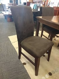 Brown fabric dining chairs