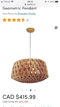Nordic wooden geometric pendant light retails $416 before tax. Vancouver, V5K 2C4