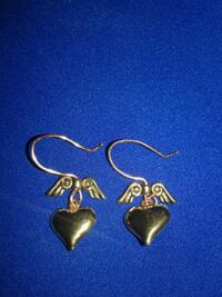 Flying Heart Gold Tone Earrings  Corpus Christi