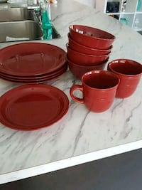 red ceramic plates and bowls 12 piece  Brampton, L7A 0G2