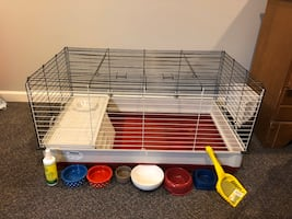 Red rabbit cage