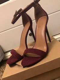 Pair of brown leather open toe ankle strap heels Laurel, 20707