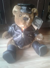black and brown Harley Davidson teddy bear