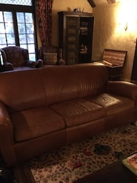 Pottery Barn Leather sofa couch Manhattan