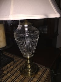 Clear glass table lamp base with white shade this lamp is water ford Crystal  vintage Visalia, 93292