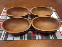 Four Teak Wood Bowls Melbourne, 32903