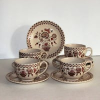 12 pcs Johnson Bros Jamestown Brown Cups & Saucers Mississauga