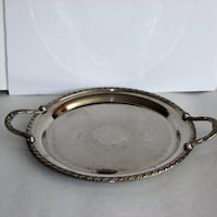 """Large Round Silver Plate Serving Tray Vintage 14""""  Mississauga"""