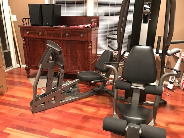 Home Gym Black and gray weight system ParaBody G4 by life fitness with leg press and 200 lbs weight stack
