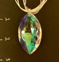 Large Crystal Pendant & White Ribbon Necklace San Antonio, 78209