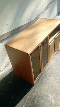 Wood cabinet glass table computer desk cd case