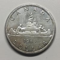 1963 Canadian Silver Dollar - FREE SHIPPING - S102