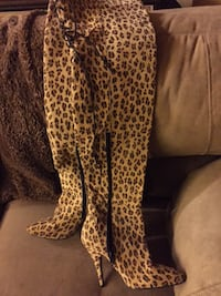 Leopard print suede tall boots North Providence