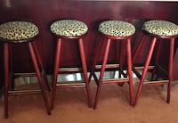 Cherry wood and leopard print bar stools custom made x 4 VANCOUVER