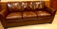 Brown leather 3-seat sofa and chair Charlotte, 28204