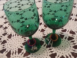 Two Vintage Turquoise Wine Glasses W/ Rine Rings
