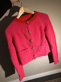 Red and black knitted button up jacket Vancouver, V6B