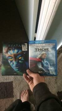 Blue ray dvds Thor the dark world and the avatar one is 3D and one is blue ray