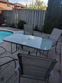 rectangular white wooden table with four chairs patio set Brampton, L6S 4M9